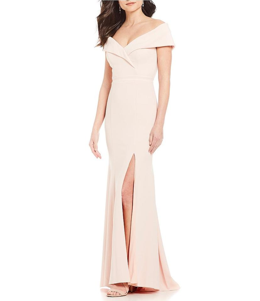 fa37d616 Xscape Blush Off-the-shoulder Crepe Gown Long Formal Dress Size Petite 6  (S) - Tradesy