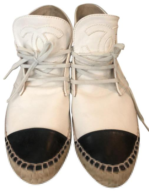 Item - White Black and Cc Leather and Canvas Lace Up Cap Toe High Top Boots Sneakers Size EU 37 (Approx. US 7) Regular (M, B)