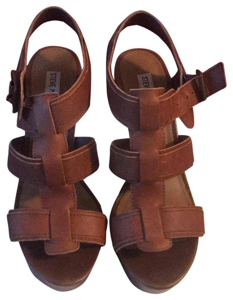 95692877396 Steve Madden Brown Wanting Cognac Lea Wedge Sandals Size US 8.5 Regular (M,  B)