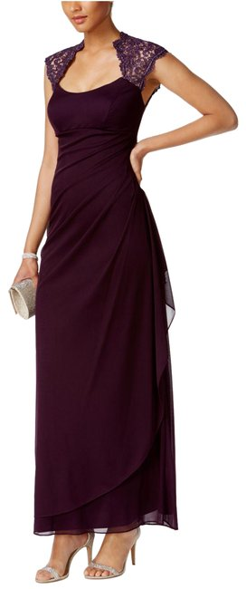 Item - Plum X By Stand-collar Illusion Back Gown Navy Long Formal Dress Size 6 (S)