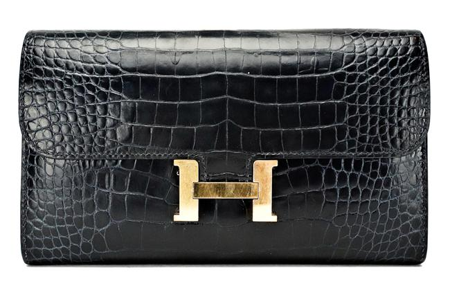 Item - Blue Long Constance Navy Alligator Crocodile Wallet