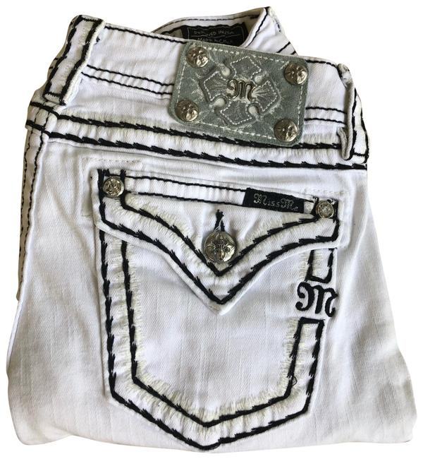 Item - White and Black Distressed Skinny Jeans Size 6 (S, 28)