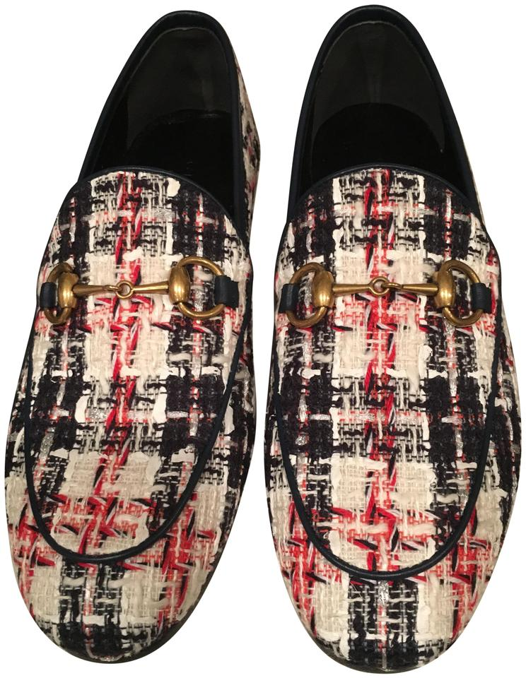 c68f5975b2 Gucci Blue Red White Jordaan Tweed Check Loafers Flats Size EU 34 (Approx.  US 4) Regular (M, B) 35% off retail