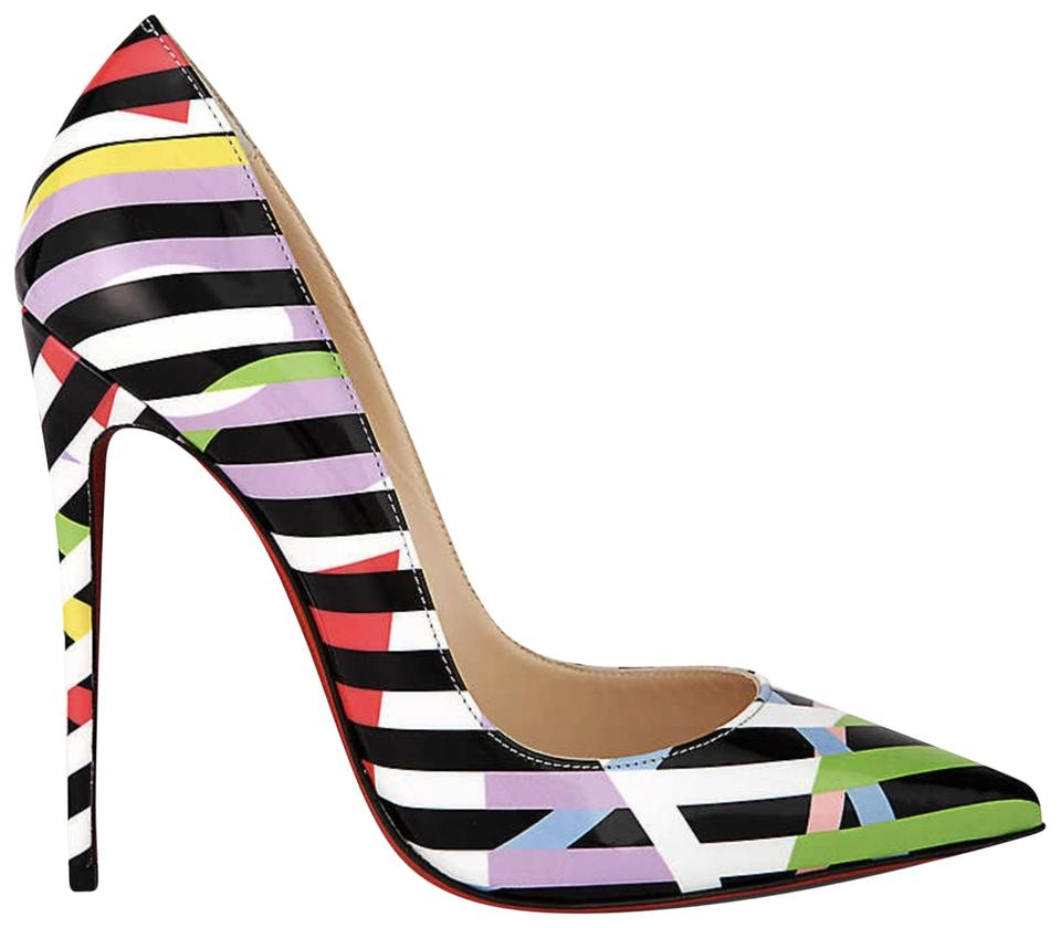 best supplier super quality united states Christian Louboutin Black So Kate 120 White Cinestripes Patent Stiletto  Classic Heel Pumps Size EU 41.5 (Approx. US 11.5) Regular (M, B)