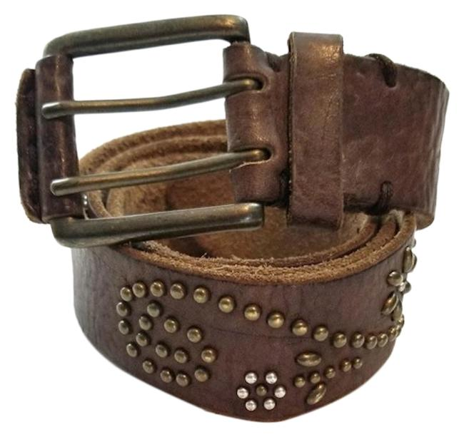 Item - Brown Leather Antiqued Gold Buckle and Swirl Floral Studs Rivets Belt