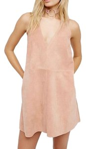 Free People short dress Pink Suede Leather Retro on Tradesy