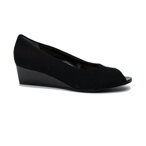 Ros Hommerson Heel 7m Open Toe Suede Black Wedges