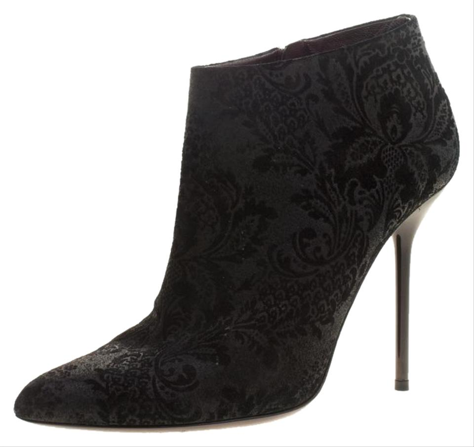 25d68cca7 Gucci Black Brocade Leather Ankle Boots/Booties Size EU 38 (Approx ...