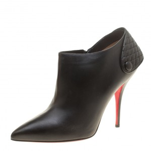 Christian Louboutin Leather Pointed Toe Ankle Black Boots