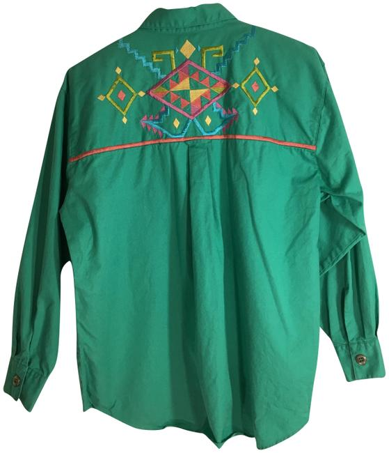 Item - Green Shirt 16w Southwest Embroidery Long Sleeve Button Button-down Top Size 16 (XL, Plus 0x)