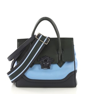 Versace Leather Tote in blue and green