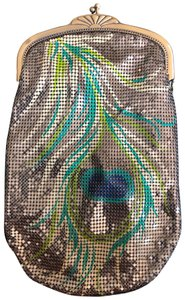 Whiting & Davis Wristlet in gold, peacock, beads,