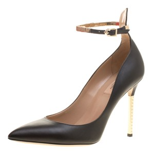 Valentino Leather Ankle Strap Pointed Toe Black Pumps