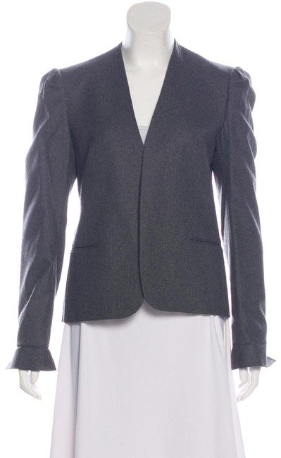 Item - Gray Collarless Tailored Jacket Blazer Size 4 (S)