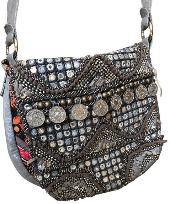Item - Purse Gray Silver Beads Leather Vegan Leather Coins Mirrors Cross Body Bag