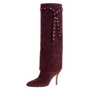Valentino Suede Leather Burgundy Boots