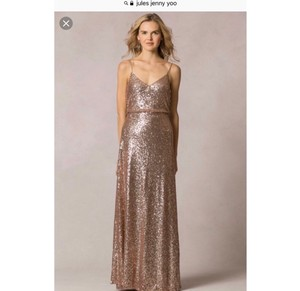 Jenny Yoo Rose Gold Sequins Jules By Formal Bridesmaid/Mob Dress Size 2 (XS)