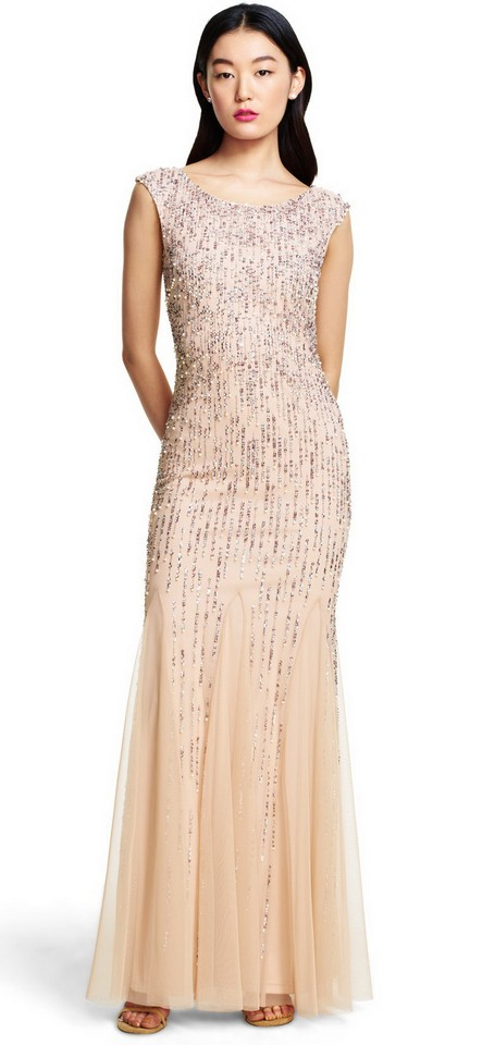 303b56b307b6 Adrianna Papell Blush Women's Sleeveless Beaded Gown with Godets and Linear  Formal Dress