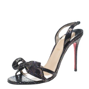 Christian Louboutin Leather Glitter Black Sandals