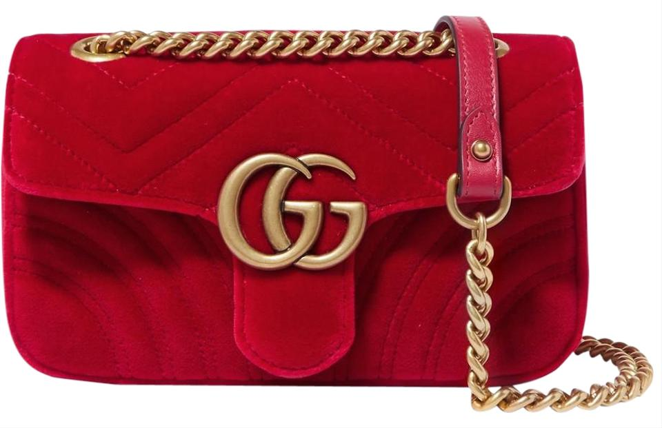 3ca532f7 Gucci Shoulder Marmont Gg Mini Quilted Red Velvet & Leather Cross Body Bag