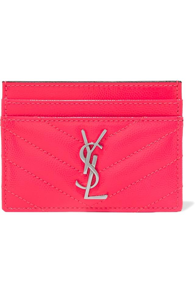 21c3e5730d2 Saint Laurent Monogramme quilted neon textured-leather cardholder Image 0  ...