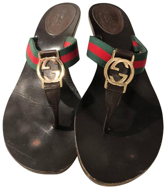 Item - Dark Brown. Gold. Green and Red Sandals Size US 7.5 Regular (M, B)