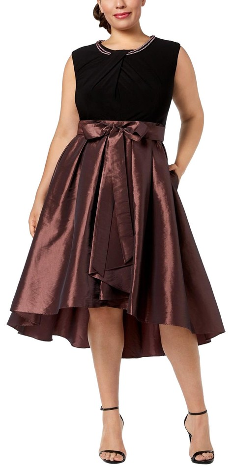 S.L. Fashions Black/Antique Rose Faux-pearl-embellished High-low Mid-length  Formal Dress Size 18 (XL, Plus 0x) 57% off retail