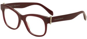 Alexander McQueen New Alexander McQueen Women Eyeglasses AM0005O 004 Red Frame Demo Lens