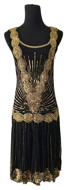 Item - Gold 1920s Flapper Mid-length Cocktail Dress Size 6 (S)