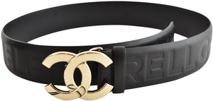 Chanel Pharrell 19D Capsule Pressed Leather CC Silver Logo Leather Belt 75