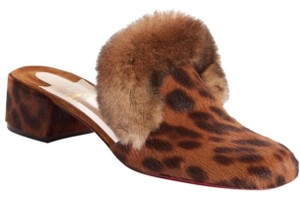 Christian Louboutin Real Fur Dyed Calf Leopard Round Toe Red Sole Brown Mules