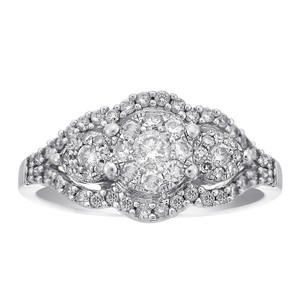 Avital & Co Jewelry 0.75 Carat Round Cut Pave Setting Diamond Cocktail Cluster Ring