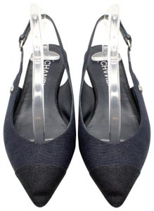Chanel Pearl Slingback Pointed Toe Blue and Black Sandals