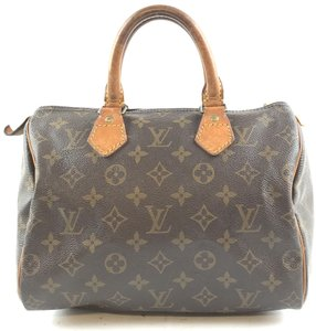Louis Vuitton Monogram Speedy Canvas Lv Satchel in Brown