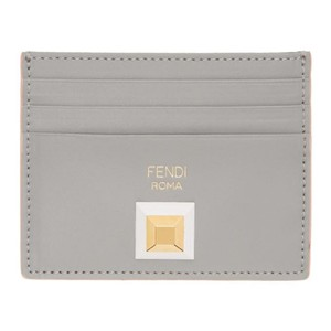 Fendi Fendi Card Case Rainbow Calf Leather Gray Burgundy Palladium Stud 8M02