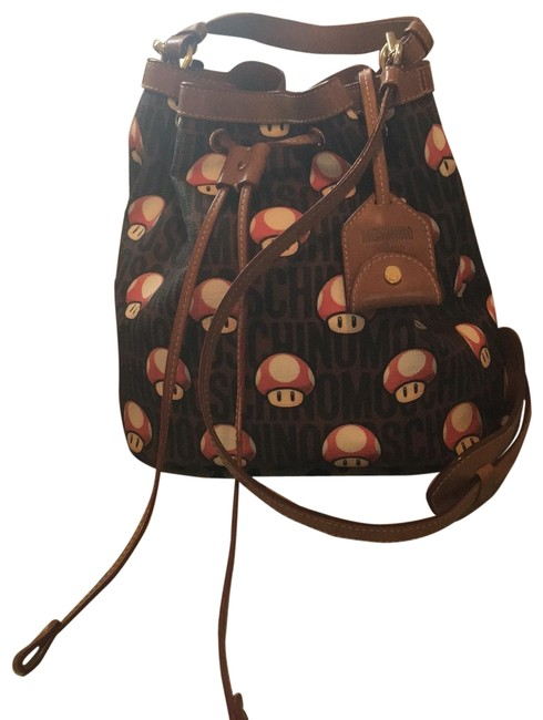Item - Limited Edition Nintendo Brown Red White Black Leather & Canvas Cross Body Bag