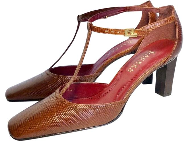 Item - Brown and Red T Strap Heels Pumps Size US 8.5 Regular (M, B)