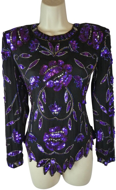 Item - Purple New Beaded Sequin Blouse Size 6 (S)