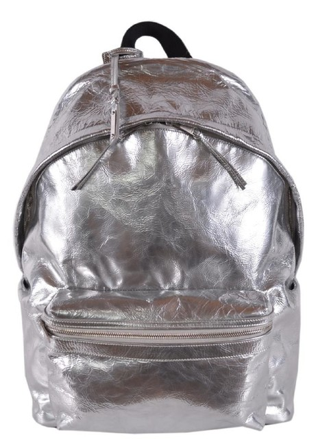 Item - City Yves Ysl Metallic Satchel 465448 Silver Leather Backpack