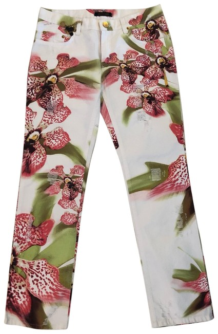 Item - White Pink Light Wash Floral Straight Leg Jeans Size 4 (S, 27)