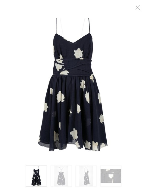 Item - Navy Floral Midi Short Casual Dress Size 2 (XS)
