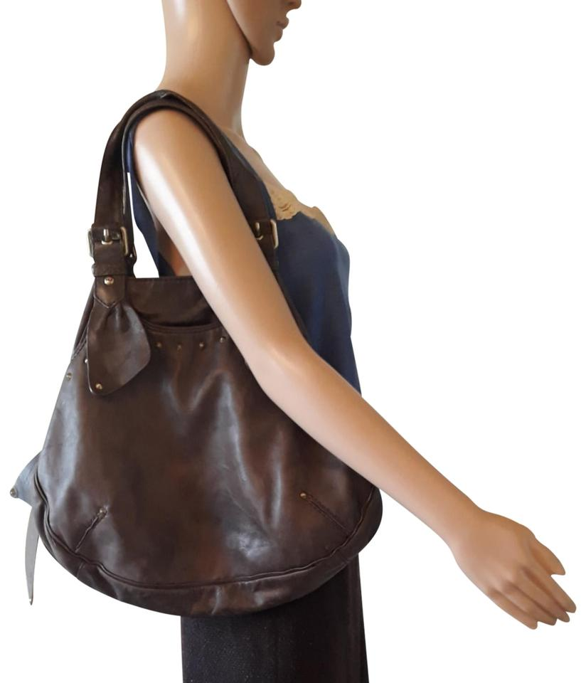 9a551f7337 Marc Jacobs Stud Embellished Brown Lambskin Leather Hobo Bag - Tradesy