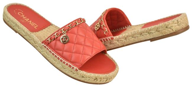 Item - Red G33352 Quilted Leather Cc Logo Chain Espadrille Mules/Slides Size EU 41 (Approx. US 11) Regular (M, B)