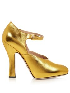 Gucci Button Ankle Strap Flared Heels Gold Pumps