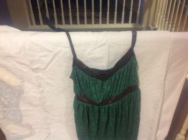 The Limited Strappy Adjustable Straps. Empire Waist Green And Black Top Teal with brown