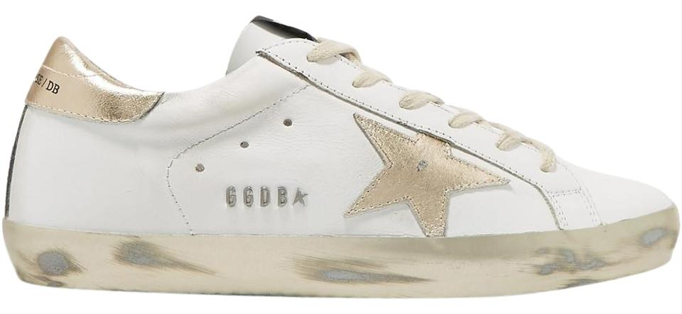 ead9b2e21b6 Golden Goose Deluxe Brand Gold and White Superstar Leather Sneakers Size US  11 Regular (M, B)