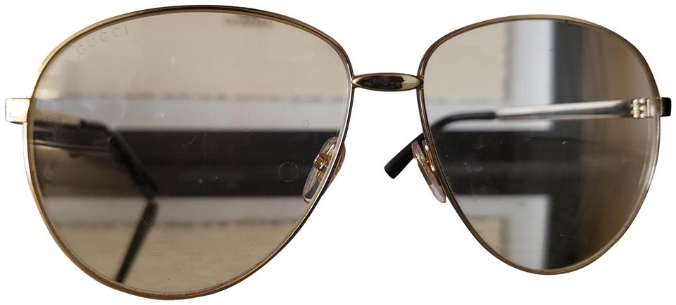 44ac75f3b68b Gucci Gold W Aviator Metal Glasses Web Sunglasses - Tradesy