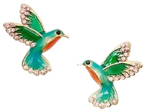 Kate Spade 12k Plated Scenic Route Hummingbird Stud Earrings