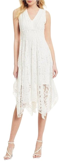 Item - White Floral Lace Hankie Hem Midi Mid-length Cocktail Dress Size 4 (S)