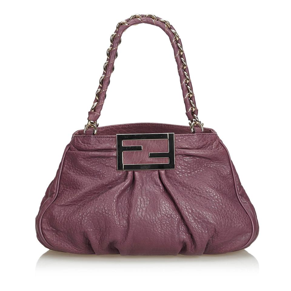 7ccbe50c63 Fendi W Mia Italy Dust Purple Leather Shoulder Bag - Tradesy